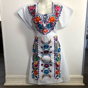 Dresses & Skirts - White Mexican Dress with flowers, Vestido Mexicano